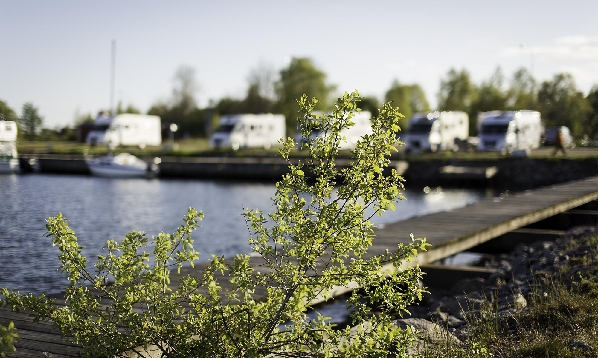 Ställplats i Sandhamns marina.